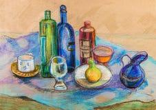 Still life on blue cloth. Still life with bottles  on blue cloth with blue coffee pot Royalty Free Stock Images