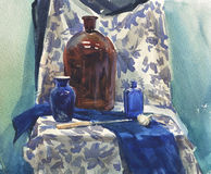 Still life with blue drapery. Watercolor still life with a bottle and blue drapery Royalty Free Stock Images