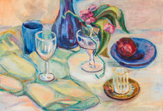 Still life. With blue vase on green cloth Stock Photo