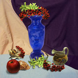 Still life with blue vase Stock Photos