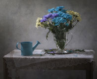 Still life with blue watering can and a bouquet of chrysanthemums. Still life with blue watering can and a bunch of blue, yellow, purple chrysanthemums in a stock images