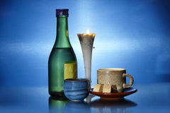 Still life on blue Royalty Free Stock Images