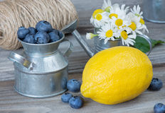 Still life with blueberries, lemon and chamomiles Royalty Free Stock Photos