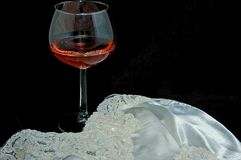 Still Life With Blush Wine and Lingerie Royalty Free Stock Photo