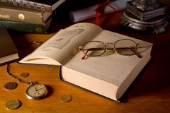 Still-life with books and glasses Royalty Free Stock Image
