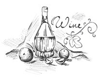 Still Life with Bottle. Graphic drawing, still life with wine bottle stock illustration