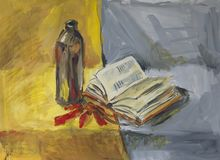 Still life with bottle, book and bottle. Gouache painting Stock Photo