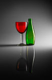 Still-life of bottle and glass Stock Photography