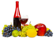 Still life - bottle of red wine and fruits Royalty Free Stock Image