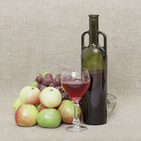 Still-life from a bottle of wine and fruit Royalty Free Stock Images