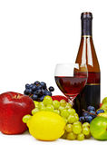 Still life with bottle of wine, fruit and glass Royalty Free Stock Photo