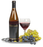 Still life - bottle of wine glass and grapes Stock Image