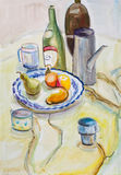 Still life, written a watercolor. Still life with bottles and fruit on a cloth Stock Photo