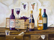 Still life of bottles of wine and grapes on the table - Original oil painting on canvas Royalty Free Stock Photo