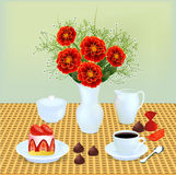 Still life with a bouquet of chocolates and coffee Royalty Free Stock Photo