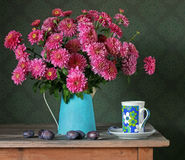 Still life with a bouquet. Chrysanthemums. Stock Photos