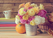 Still life with a bouquet of chrysanthemums. Royalty Free Stock Image
