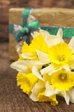 Still life with a bouquet of daffodils Stock Images