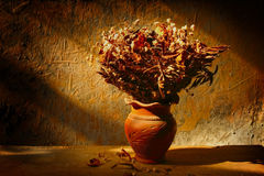 Still life with bouquet of dried roses in clay vase Royalty Free Stock Image