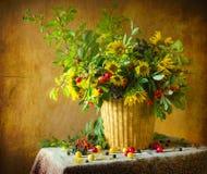 Still life bouquet flower vintage art plum sunflower elderberry stock images