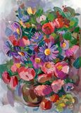 Still life. A bouquet of flowers. Hand-drawn in gouache Royalty Free Stock Image