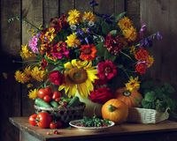 Still life with a bouquet of garden flowers in a can. Royalty Free Stock Photography