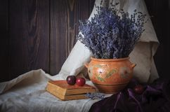 Still life with a bouquet of lavender, a book and plums on the table. royalty free stock image