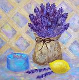 Still life with bouquet of lavender in a canvas bag, lemon and box. Oil art. Provance style. Violet pastel colors. Still life with bouquet of lavender in a vector illustration