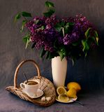 Still-life with a bouquet of lilacs Royalty Free Stock Photos
