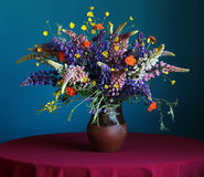 Still life bouquet with lupine and buttercups in a jug on a blue Stock Images