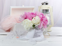 Still-life with a bouquet of peonies Royalty Free Stock Photos