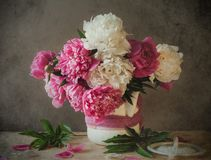 Still life bouquet peony royalty free stock images