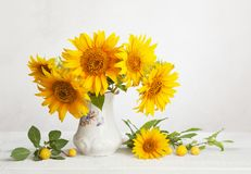 Still life with bouquet of sunflowers, and cherry plums Royalty Free Stock Photography
