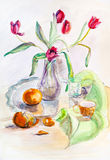 Still life. With bouquet of tulips Stock Images