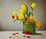 Still life bouquet tulips hearts Stock Image