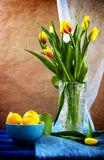 Still life bouquet tulips lemons Royalty Free Stock Photography