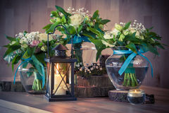Still life with bouquets and candles Royalty Free Stock Photo