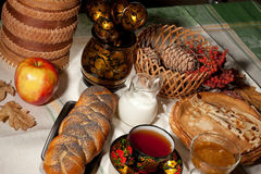 Still Life With Bread And Apple stock images