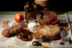 Still Life With Bread And Apple stock photography