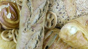 Still life of bread baking. And sweet buns, food background closeup Royalty Free Stock Images
