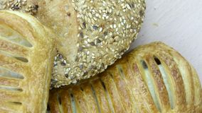 Still life of bread baking. And sweet buns, food background closeup Stock Image