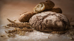 Still life of bread and cereals Royalty Free Stock Photos