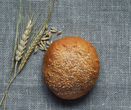 Still life of bread and ears on linen Royalty Free Stock Photography