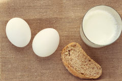 Still life with bread and egg, milk Royalty Free Stock Images