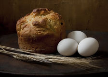 Still life with bread and eggs Stock Photos