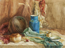 Still life with bread and milk can watercolor painting Stock Photo