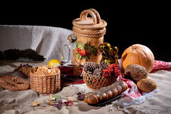 Still Life With Bread And Pumpkin Stock Photography
