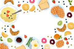 Still life with breakfast in a flat doodle style top view And with place for text vector illustration vector illustration