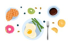 Still life with breakfast in a flat doodle style top view vector illustration stock illustration