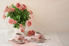 Still Life. Breakfast with flowers and cups of tea. Pastels Royalty Free Stock Image